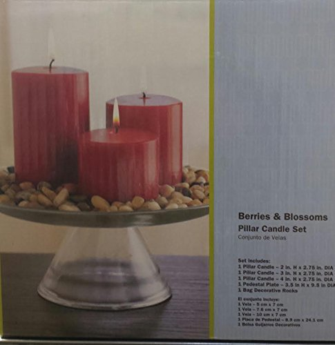 BERRIES AND BLOSSOMS SCENTED PILLAR CANDLE SET WITH PEDESTAL PLATE WITH DECORATIVE ROCKS by hometrends