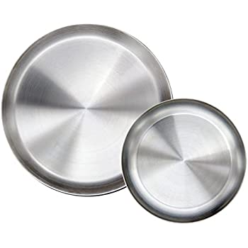 Immokaz Matte Polished 9.0 inch 304 Stainless Steel Round Plates Dish Set for Dinner Plate  sc 1 st  Amazon.com & Amazon.com: Immokaz Matte Polished 9.0 inch 304 Stainless Steel ...