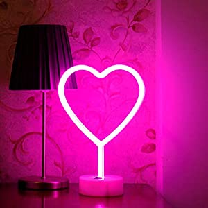 BHCLIGHT LED Heart Sign Night Light Neon Heart Shaped Decor Light with Holder Base Table Light Marquee Signs Wall Decor for Christmas,Birthday Party,Kids Room,Living