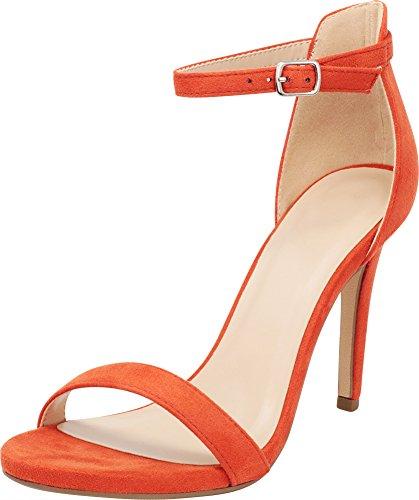 Cambridge Select Women's Open Toe Single Band Buckle Thin Ankle Strappy Stiletto High Heel Dress Sandal,9 B(M) US,Burnt Orange IMSU