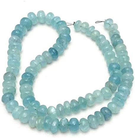 "Beads Bazar Natural Beautiful jewellery 1 Strand Natural MILKY AQUAMARINE,Milky Aqua,smooth beads,rondelles beads,5-7 mm approx,13""strand [E0957] milky aqua beadsCode:- NY-8259"