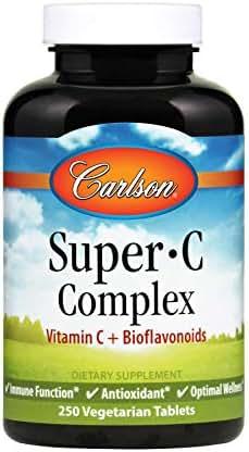 Carlson - Super-C Complex, Vitamin C + Bioflavonoids, Immune Function & Optimal Wellness, Antioxidant, 250 Vegetarian Tablets