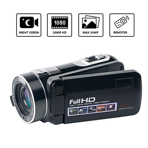 "Digital Video Camera Camcorder SEREE Full HD 1080p Vlog Camera 24.0MP 18x Digital Zoom 3.0"" Rotation Screen Night Vision Camcorders"