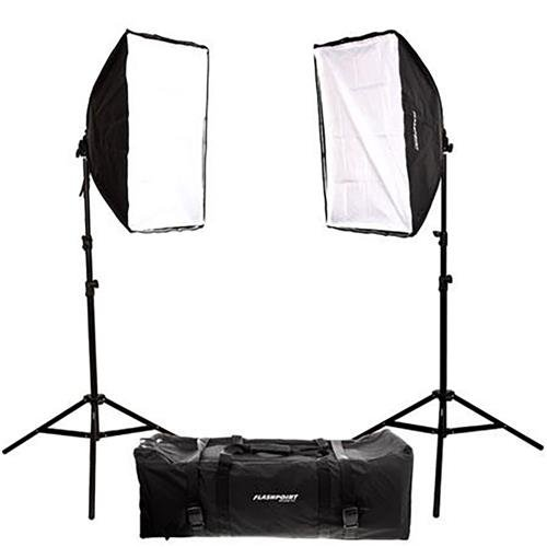 Flashpoint 2-Light SoftBox Kit, Fluorescent Lamps 5500K Bulbs, Stands & Carrying Case - Continuous Cool Lights ()