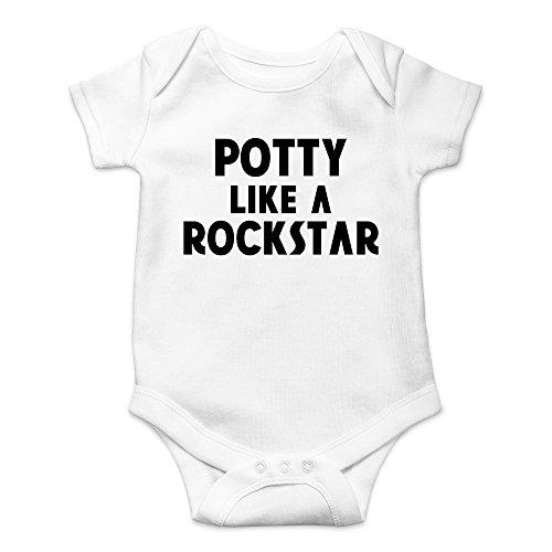 CBTWear Potty Like a Rockstar Funny Dirty Stinky Diaper Cute Novelty Infant One-Piece Baby Bodysuit (12 Months, White) -