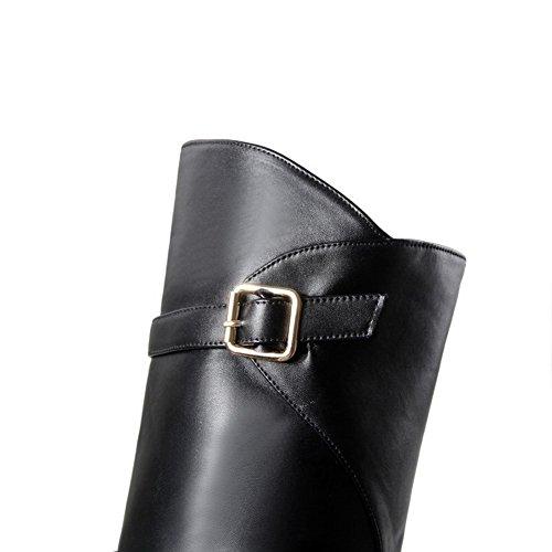 AllhqFashion Mujeres Caña Alta Sólido Sin cordones Puntera Redonda Mini Tacón Botas Negro