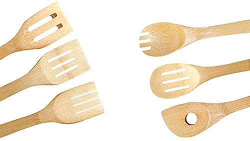 Cooking 8-Piece Bamboo Utensil Set Apartment Essentials Wood Spatula Spoon Nonstick Kitchen Utensil Set Premium Quality Housewarming Gifts Wooden Utensils for Everyday Use