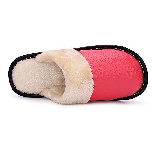 Ok Pantoufles En Cuir Dintérieur Et Dextérieur Dhiver Pour Les Hommes Et Les Femmes Doublure En Peluche Confortable Rouge