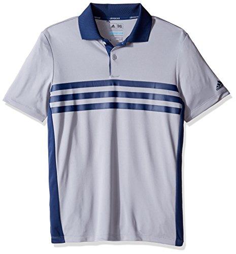 adidas Golf Boys 3 Stripe Chest Polo, Mid Grey, Medium