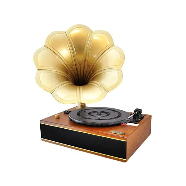 Bluetooth Compatible Gramophone Vintage Turntable - Classic Retro Record Player Speaker System w/ 2-Speed, Full Range Stereo Speakers, Convert Vinyl to Digital MP3, USB, AUX, RCA - Pyle PNGTT12RBT 3