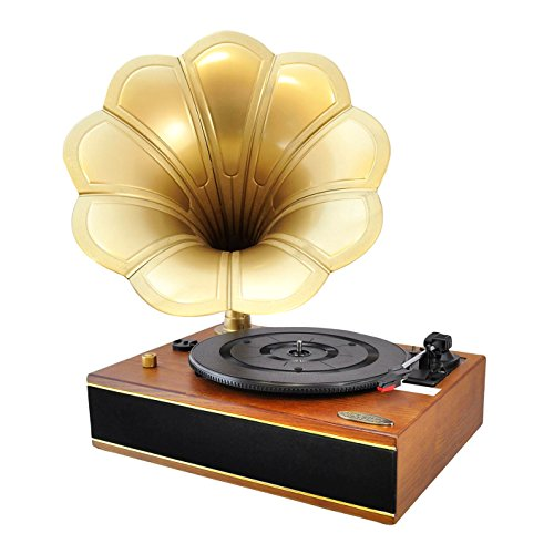 Bluetooth Compatible Gramophone Vintage Turntable – Classic Retro Record Player Speaker System w/ 2-Speed, Full Range Stereo Speakers, Convert Vinyl to Digital MP3, USB, AUX, RCA – Pyle PNGTT12RBT