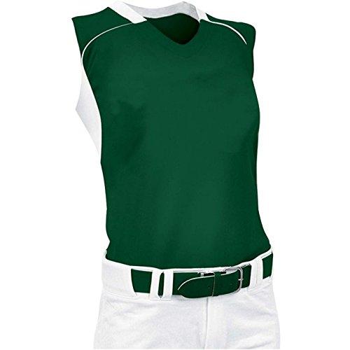 ChamproレディースノースリーブレーサーバックSoftball Jersey B00JARBQ8Y Large|フォレスト/ホワイト フォレスト/ホワイト Large