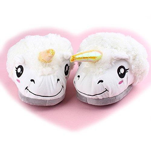 en chaudes Wuiyepo Chaussures peluche coton Unicorn pantoufles paire 1 intéressants White PPqBwag