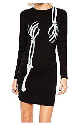 Worlsky Womens Long Sleeve Crewneck Halloween Floral Slim Dress BlackSmall