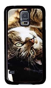 Diy Fashion Case for Samsung Galaxy S5,Black Plastic Case Shell for Samsung Galaxy S5 i9600 with Cute Cat