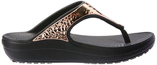 Hammered Playa Crocs Para Zapatos Piscina Met Negro Y W Dorado Flip De Sloane Mujer Rosa 55Zqw0r