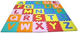 Protective Floor Alphabet Puzzles Mats A to Z Words In Multi Colors (26 Pieces) Each size 30x30cm.