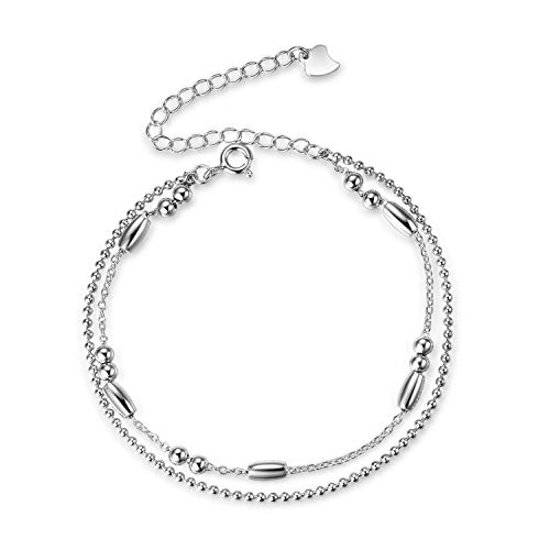 LUHE Ball Bead AnkletS Sterling Silver Italy Thin Box Layered Chain Anklets for Women Teen Girls Beach Anklet Jewelry (Bead Layered Chain anklets)