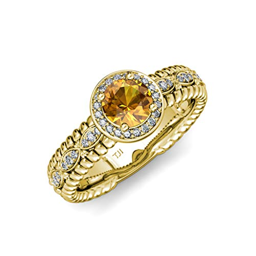 TriJewels Citrine & Diamond Lavaliere Shank Halo Engagement Ring 1.22 ctw 14K Yellow Gold.size 6.0 ()