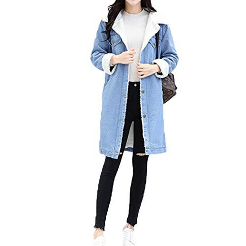 Winter Women's Denim Jacket Loose Large Size Lapel Lamb Long Section Plus Velvet Padded Coat Light Blue