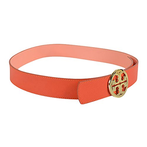 "Tory Burch Reversible 1 1/2"" Classic Tory Logo Belt Blood Orange Cantaloupe Medium"