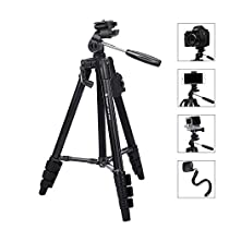 Tripod for Camera Fotopro 48 Phone Tripod with Phone Tripod Mount+Bluetooth Remote Control+Tripod for Gopro Adapter+Portable Tripod Carrying Bag (Lightweight Aluminium Tripod for Travel)