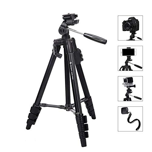 Camera Tripod Fotopro Phone Tripod up to 48'' Max Load 4.4 lbs,with Phone Tripod Mount,Wireless Bluetooth Remote,GoPro Adapter,Quick Release Plate, for DSLR Canon Sony Nikon Lumix Samsung S9 iPhone X by Fotopro