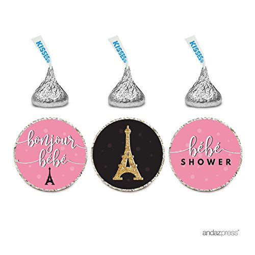 (Andaz Press Chocolate Drop Labels Trio, Girl Baby Shower, Paris Tres Chic Ooh Bebe, 216-Pack, Fits Hershey's Kisses Party Favors, Decor, Decorations)