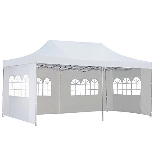 Outdoor Basic 10x20 Ft Pop up Canopy Party Wedding Gazebo Tent Shelter with Removable Side Walls (10x20 White Party Tent Gazebo)