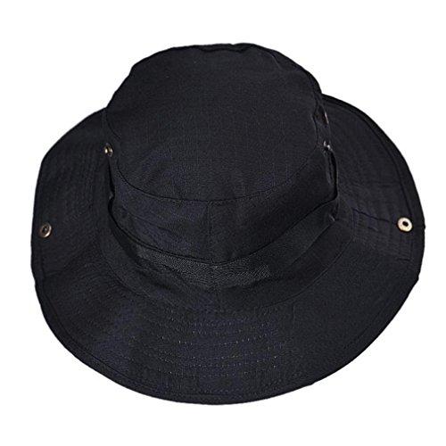 Shybuy Multifunctional Outdoor Sun Hat Hat Wide Brim Caps Sun Block Fishing Hat (Black)