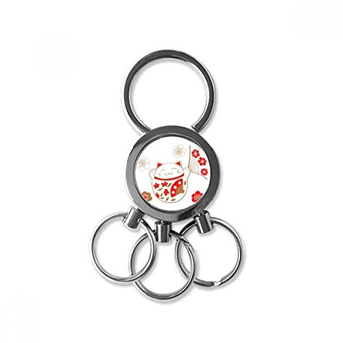 Lucky Seven Car Charm - Fat Lucky Fortune Cat Flower Fan Japan Culture Metal Key Chain Ring Car Keychain Trinket Keyring Novelty Item Best Charm Gift