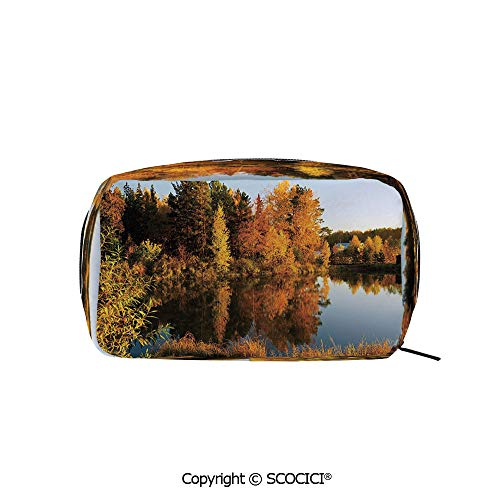- Rectangle Beauty Girl And Women Cosmetic Bags Lake in Sunset Rays Autumn Landscape Pond Woodland Outdoors Ecology Environment Decorative Printed Storage Bags for Girls Travel