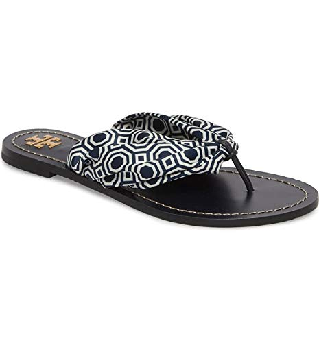 (Tory Burch Carson Satin and Leather Flat Thong Sandals, Tory Navy Mini Octagon Square (8))