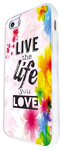 471 - Floral Shabby Chic Live The Life You Love Design iphone SE - 2016 Coque Fashion Trend Case Coque Protection Cover plastique et métal - Blanc