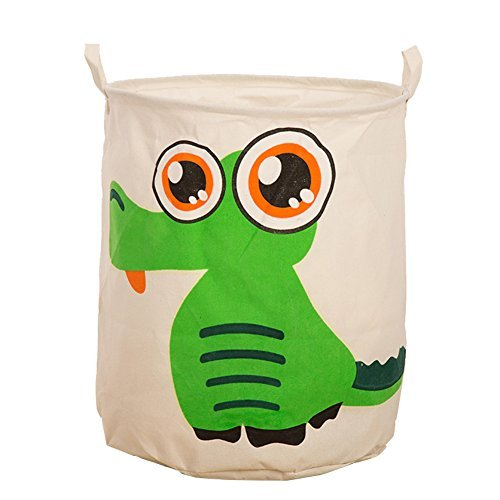 dailydollor-animal-patterns-foldable-round-laundry-basket-hamper-clothing-storage-crocodile