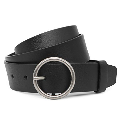 Black Leather Belt For Women Jeans Belt 33mm with Silver Round Buckle Fit Waist 29 to 34in by XZQTIVE