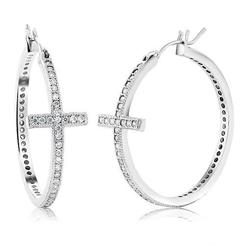 Classic Cross Shape Stunning Cubic Zirconia CZ Pave Hoop Earrings (1.25 Inch)