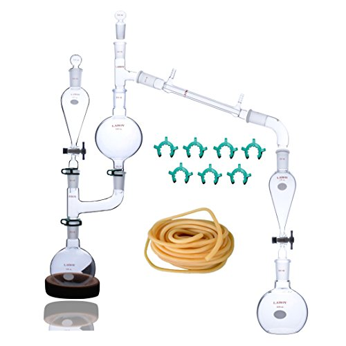 Laboy HMK22 Glass Steam Distillation Apparatus for Essential Oil Extraction Lab Glassware Kit 25pcs