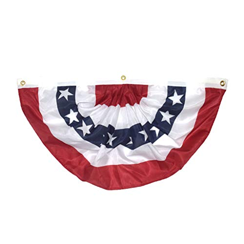 LookGolden American USA Flag Banners, American US Bunting Flags Banner Flag Patriotic Applique Bunting Pleated Fan Flag (45x91cm) (Multicolor)