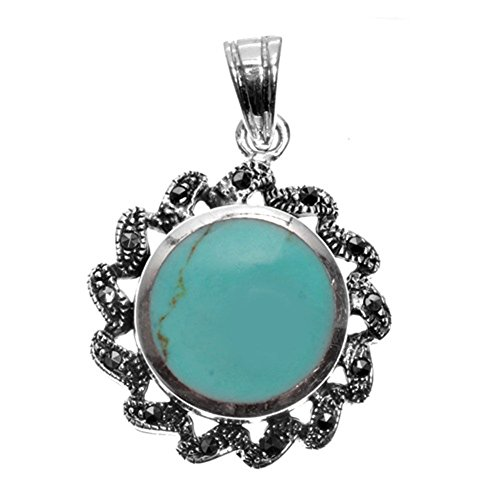 - Pendant Simulated Turquoise Simulated Marcasite .925 Sterling Silver Charm - Silver Jewelry Accessories Key Chain Bracelet Necklace Pendants