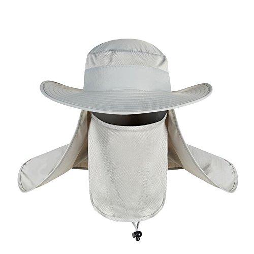 CSSD Outdoor Unisex Brim Sun Block Quick Drying Fishing Sun Cap Climbing Bucket Hats (Gray) -
