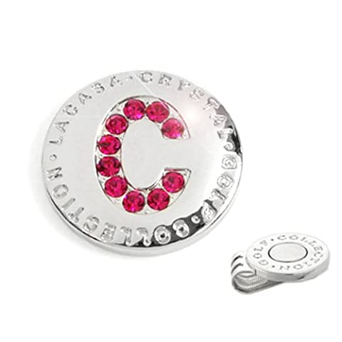 Elixir Golf Crystal Golf Ball Marker with Hat Clip, Initial C - Magnetic Ball Marker
