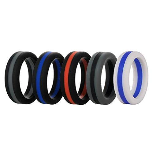 Silicone Wedding Ring for Men, 5 Pack 8mm Wide Mens Affordable Silicone Rubber Wedding Bands for Athletes Sports Workout Gym