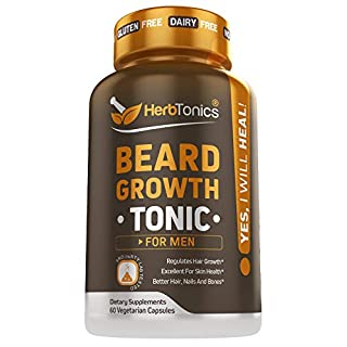 Beard Growth Vitamins Supplement for Men - Thicker, Fuller, Manlier Hair - Scientifically Designed Pills with Biotin, Collagen, Zinc & More! - for All Facial Hair Types - Veggie Capsules