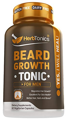 Beard Growth Vitamins Supplement for Men – Thicker, Fuller, Manlier Hair – Scientifically Designed Pills with Biotin, Collagen, Zinc & More! – for All Facial Hair Types – Veggie Capsules