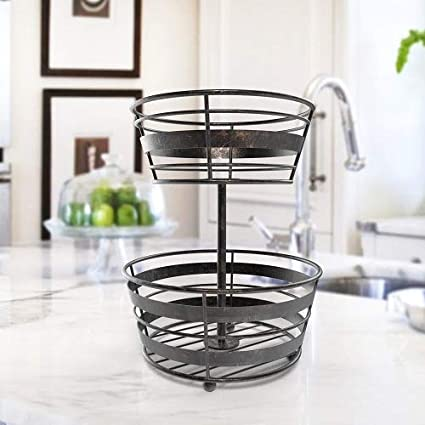 Inspired Living by Mesa Inspired Living Bowl Kitchen BASKETSTAND 2-Tier  Antique Black Delmar Collection FRUIT BASKET,
