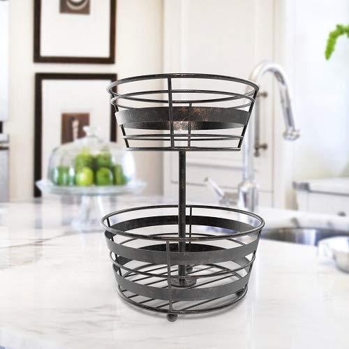 (Inspired Living by Mesa Inspired Living Bowl Kitchen BASKETSTAND 2-Tier Antique Black Delmar Collection FRUIT BASKET,)