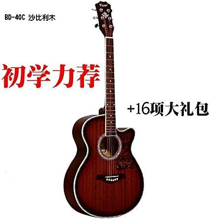 X-XIN Madera De Abeto Guitarra Folk Principiante 41 Pulgadas ...