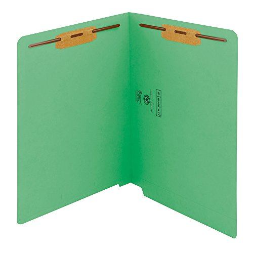(Smead WaterShed/CutLess End Tab Fastener File Folder, Reinforced Straight-Cut Tab, 2 Fasteners, Letter Size, Green, 50 per Box (25150))