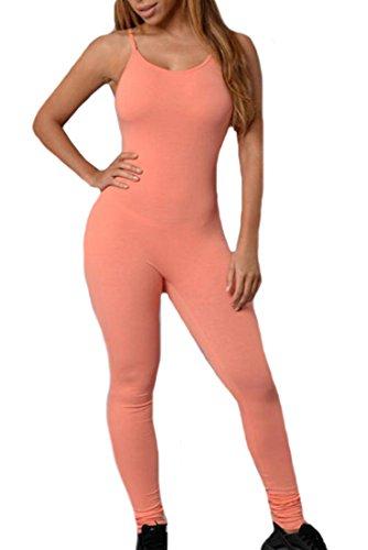 Orange Prison Jumpsuit Womens (Papijam Womens Stylish Slim Fit Solid Strap Yoga Jumpsuit Rompsuit orange L)